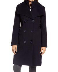 Ellen Tracy Double Breasted Wool Blend Coat With Bib - Blue