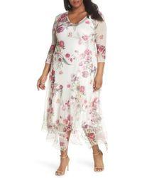 Komarov - Floral Handkerchief Hem Charmeuse Midi Dress - Lyst