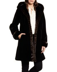 Gallery Hooded Faux Fur Coat - Black