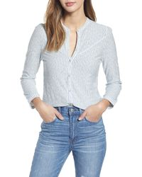 Lucky Brand Stripe Seersucker Cotton Blouse - Multicolor