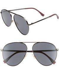 66cd3d7b38 Lyst - Gucci Pilot 56mm Aviator Sunglasses - Ruthenium  Silver in ...