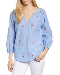 Velvet By Graham & Spencer - Embroidered Cotton Peasant Blouse - Lyst