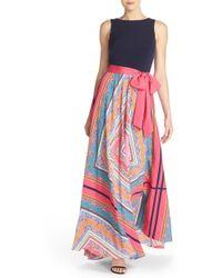 Eliza J Scarf Print Jersey & Crêpe De Chine Maxi Dress - Black