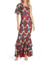 Chi Chi London Jennifer One-shoulder Crochet Lace Evening Gown - Multicolour