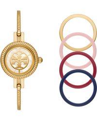 Tory Burch Reva Goldtone Stainless Steel Bangle Watch Gift Set - Metallic