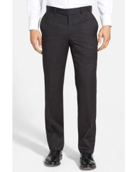 Nordstrom | Flat Front Wool Trousers | Lyst