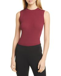 BOSS Folive Ribbed Sleeveless Sweater - Red