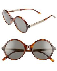 Bottega Veneta - 52mm Round Sunglasses - Avana - Lyst