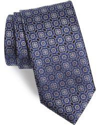 Canali Medallion Silk Tie - Blue