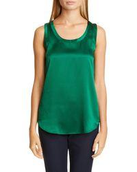 Lafayette 148 New York Perla Reversible Silk Blouse - Green