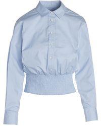Thakoon Smocked Hem Button-up Shirt - Blue