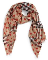 Burberry - Dot & Giant Check Wool & Silk Gauze Scarf - Lyst