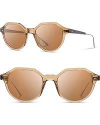 Shwood Powell 50mm Polarized Geometric Sunglasses - Copper/ Ebony/ Brown