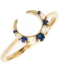ICONERY - X Stone Fox Crescent Diamond & Stone Ring - Lyst