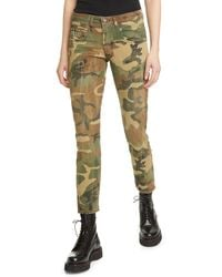 R13 Distressed Camo Print Boy Skinny Jeans - Green