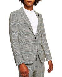 TOPMAN - Skinny Fit Houndstooth Suit Jacket - Lyst