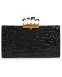 Alexander McQueen Croc Embossed Leather Knuckle Clutch - Black