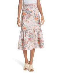 Rebecca Taylor | Marlena Ruffled Floral Skirt | Lyst