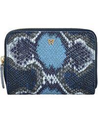Kelly Wynne Money Maker Leather Zip Wallet - Blue