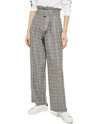 TOPSHOP - Check Wide Leg Trousers - Lyst