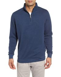 Peter Millar Comfort Interlock Quarter Zip Pullover - Blue