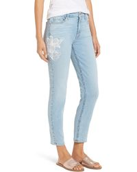 Jen7 - Jen 7 Embroidered Stretch Sklnny Ankle Jeans - Lyst