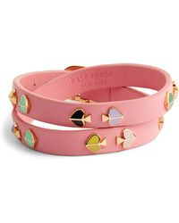 Kate Spade - Double Wrap Leather Bracelet - Lyst