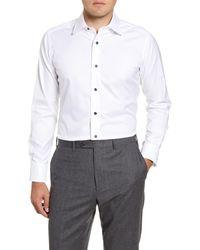 David Donahue - Trim Fit Solid Dress Shirt - Lyst