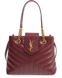 Saint Laurent - Small Loulou Matelasse Calfskin Leather Shopping Tote - Burgundy - Lyst