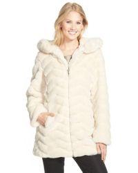 Gallery - Hooded Chevron Faux Fur Coat - Lyst