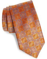 David Donahue Medallion Silk Tie - Orange