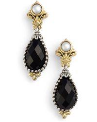 Konstantino 'nykta' Pearl & Black Onyx Drop Earrings - Metallic