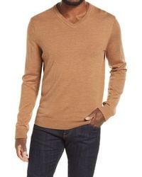Nordstrom Washable Merino V-neck Sweater - Brown