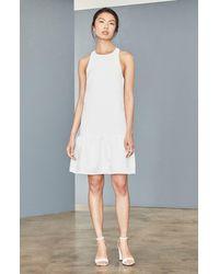 Amsale Ruffle Hem Faille Trapeze Dress - White