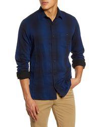 1901 Trim Fit Plaid Twill Button-up Utility Shirt - Blue