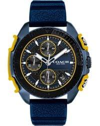 COACH C001 Chronograph Silicone Strap Watch - Blue