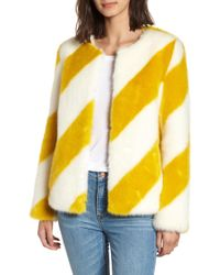Sam Edelman Striped Collarless Faux Fur Jacket - Yellow