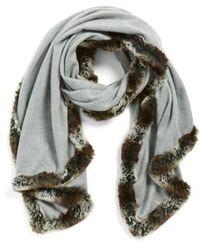 Badgley Mischka | Faux Fur Trim Wrap | Lyst
