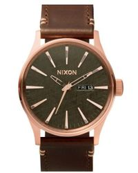 Nixon - 'the Sentry' Leather Strap Watch - Lyst