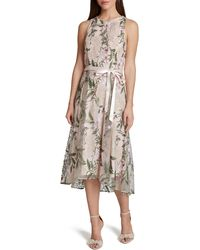 Tahari - Floral Embroidered Midi Dress - Lyst