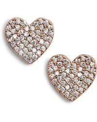 Kate Spade - Yours Truly Pave Heart Stud Earrings - Lyst