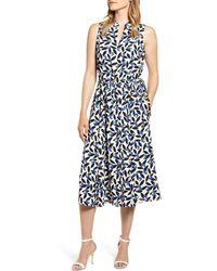 Anne Klein Filigree Print Midi Dress - Blue