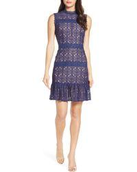 chelsea28 velveteen belt lace sheath dress in blue  lyst