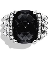 David Yurman Wheaton Ring With Semiprecious Stone & Diamonds - Black