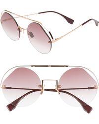 1973a46b89b0 Fendi - 56mm Semi Rimless Round Aviator Sunglasses - Cyclamen - Lyst