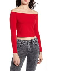 BP. Fitted Off The Shoulder Top - Red