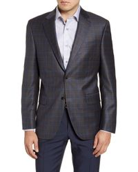 Peter Millar Flynn Classic Fit Plaid Wool Sport Coat - Gray