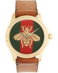 Gucci - Bee Insignia Leather Strap Watch - Lyst