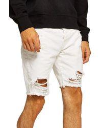 TOPMAN - Slim Fit Shredded Jean Shorts - Lyst