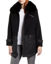 Trina Turk - Genuine Fox Fur Trim Mixed Media Coat - Lyst